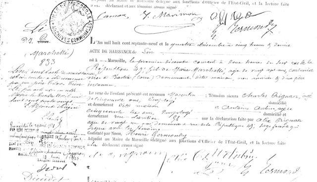 Registre d'état-civil de la mairie de Marseill