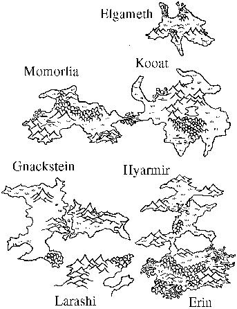 Karte von Elgameth, Momorlia, Kooat, Gnackstein, Hyarmir und Erin