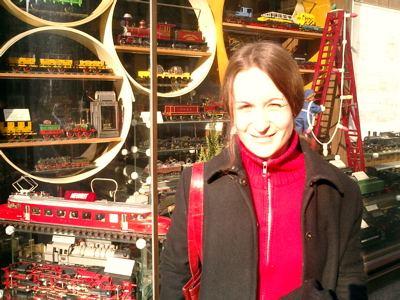 Claudia posing in front of the Chäsbueb model railroad shop