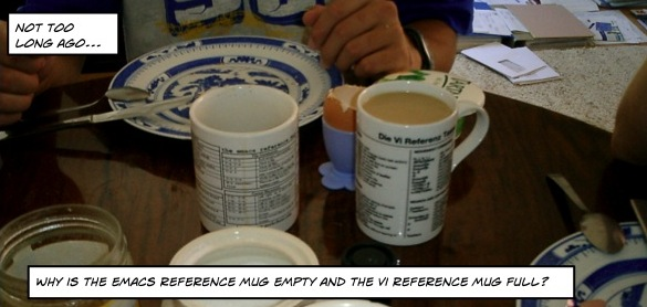 Why is the Emacs reference mug empty and the Vi reference mug full?