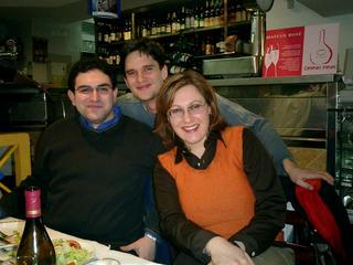 Vaggelis, me, and Francesca in the restaurant
