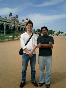 Alex and Harsha in the Mysore palace park