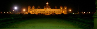 Looking at Mysore palace from the main gate at night