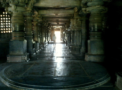 The light reflects inside the main temple in Halebid
