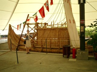 A replica of the raft they used to cross the Atlantic
