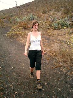Descending a slope of vulcano ashes