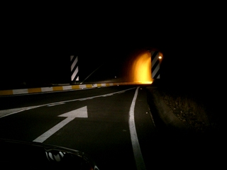 Driving home to the hotel in the dark...