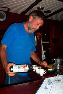 Bernd pours the Rum after dinner