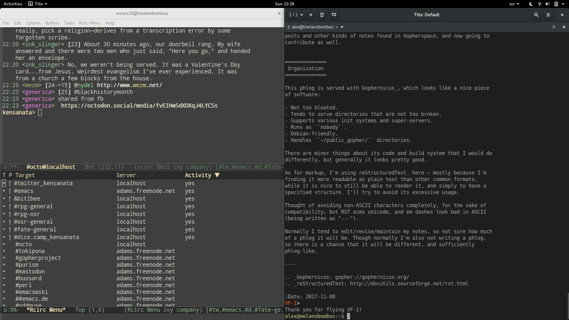 Screenshot showing Emacs and Tilix