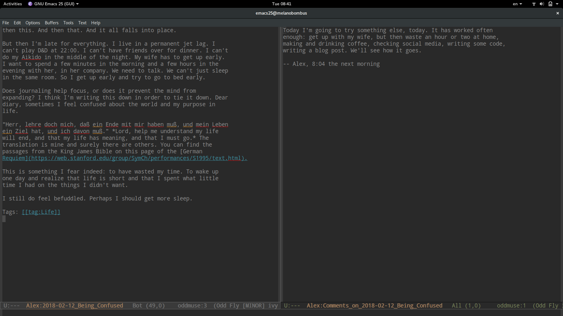 Screenshot showing Emacs