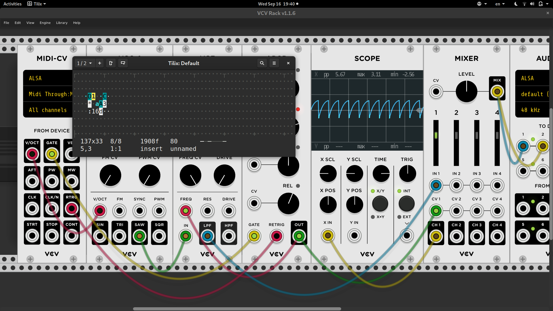 Screenshot of a modular synthesizer emulator and a tiny Orca window