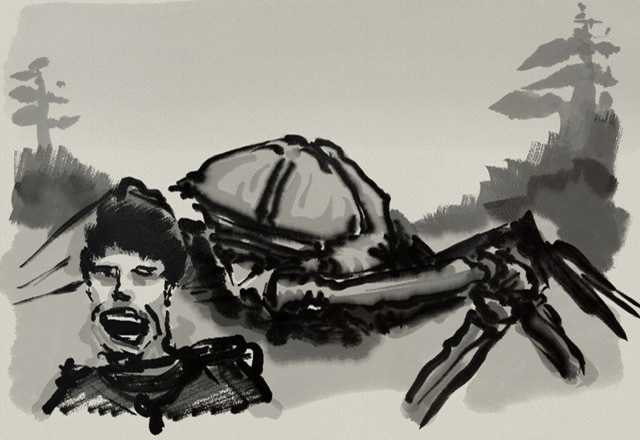 A fearful human face in the foreground and a giant bug in the background, inspired by Starship Troopers