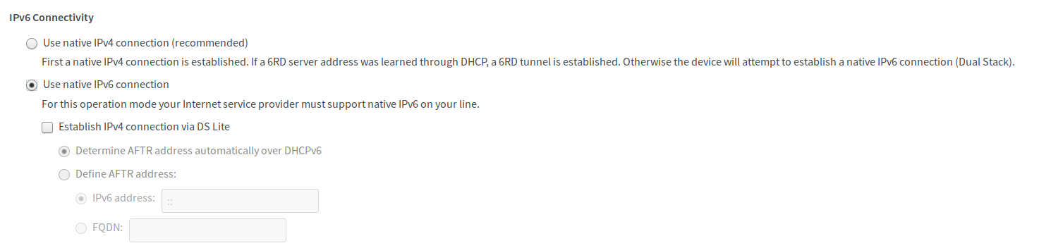 use native IPv6 connection