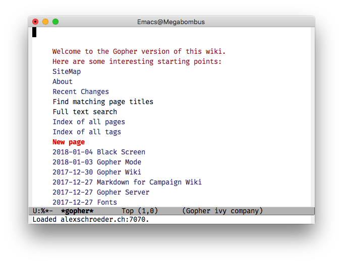 Emacs/Gopher screenshot