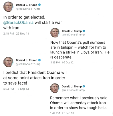 In order to get elected, @BarackObama will start a war with Iran. — Donald J. Trump (@realDonaldTrump) November 29, 2011