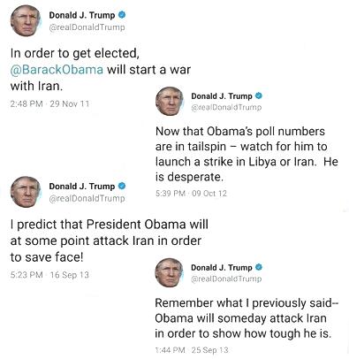 In order to get elected, @BarackObama will start a war with Iran. — Donald J. Trump (@realDonaldTrump) November 29, 2011